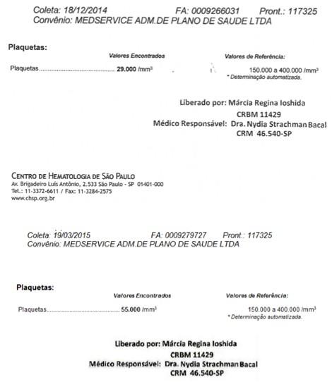 exames plaquetas